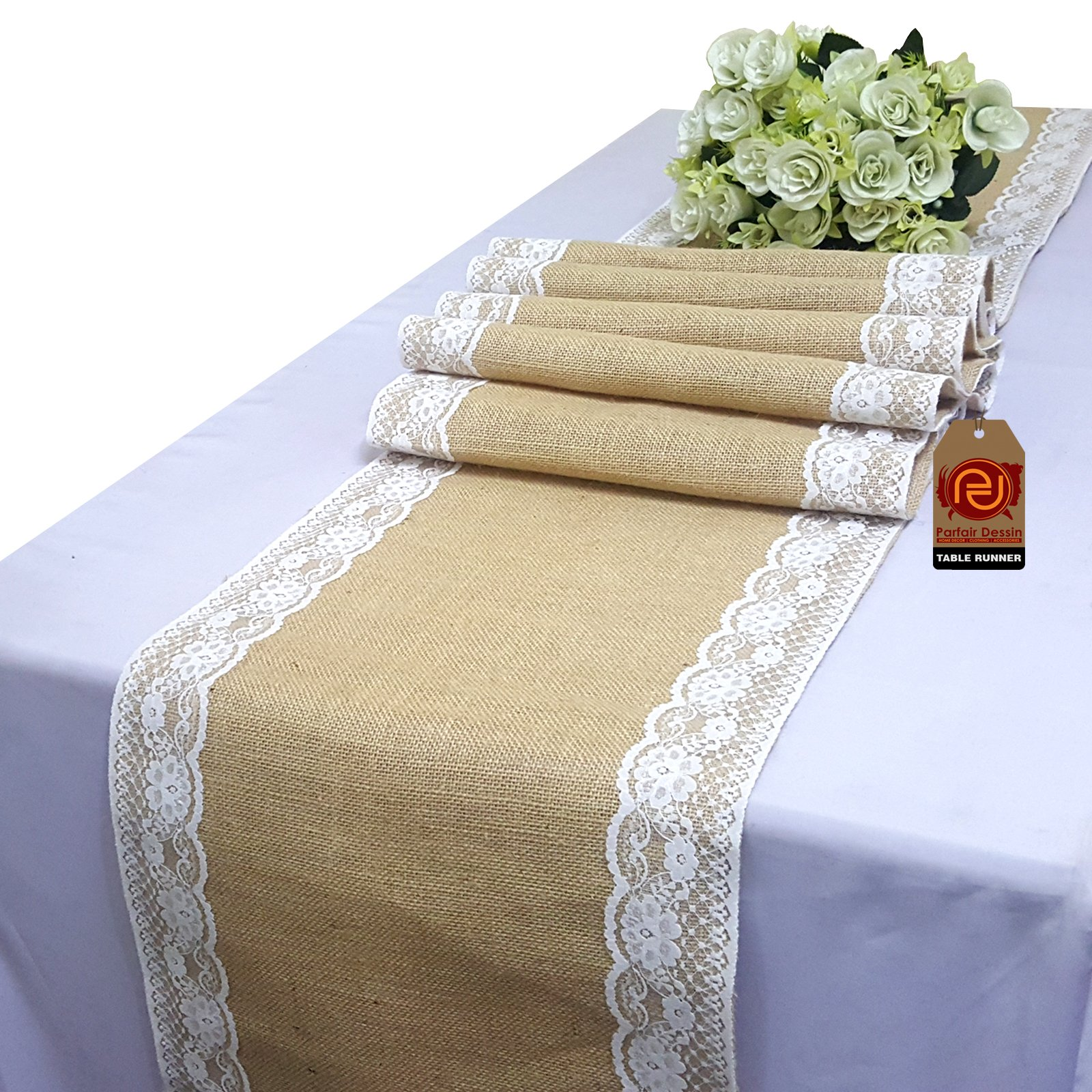 Parfair Dessin 2.5'' Lace Natural Burlap Jute Table Runner for Rustic Primitive Country Wedding Party Farmhouse Decoration Spring Bridal Baby Shower Decor (12 in. x 84 in., Natural)