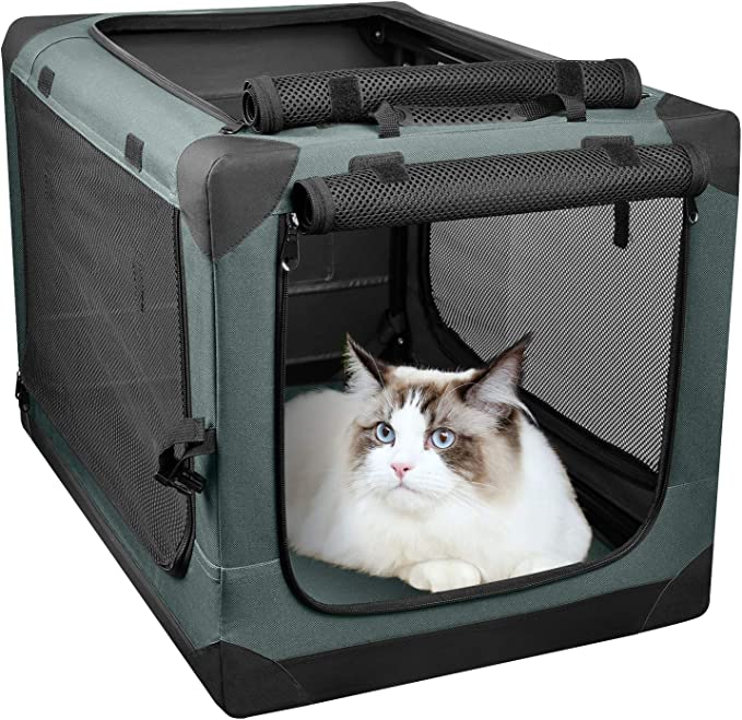 PUPPY KITTY—Transportín para Mascotas abatible, Jaula para Gatos y Perros Portátil, Suave y Plegable para Uso en Interiores y Acampar en Exteriores, Verde, 66x46x46cm