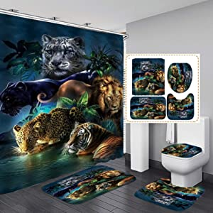 Fashion_Man 4PCS/Set Leopard Lion Tiger Shower Curtain Fabric Polyester Waterproof Bath Curtain and Rug Set Bath Mat Set Bathroom Rugs Toilet Lid Cover Bathroom Decor 72