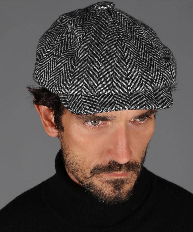 Holland Cooper Tweed Herringbone Baker Boy Cap Black