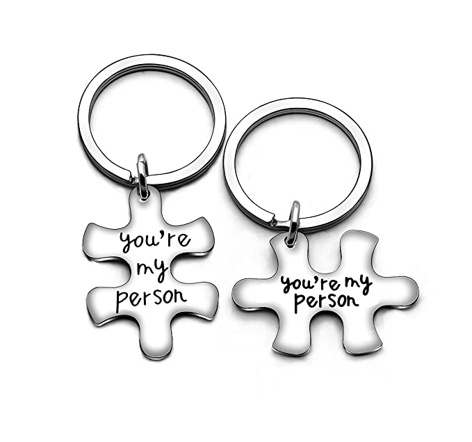 Amazon.com: 2 piezas Puzzle San Valentín llavero juego de ...