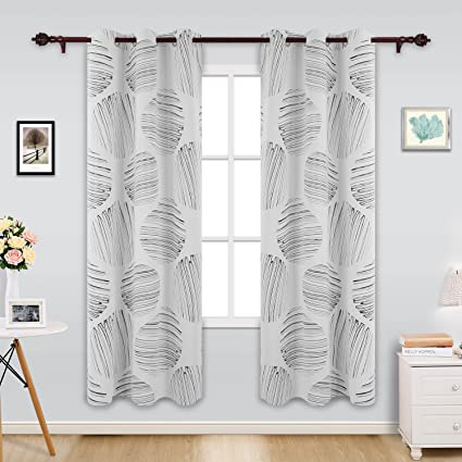 Deconovo Modern Style Circle Foil Print Curtains Grommet Blackout Thermal Insulated For Dining