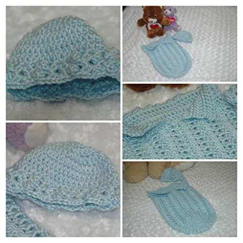 Amazoncom Crocheted Newborn Countryside Blue Baby Bunting And Hat