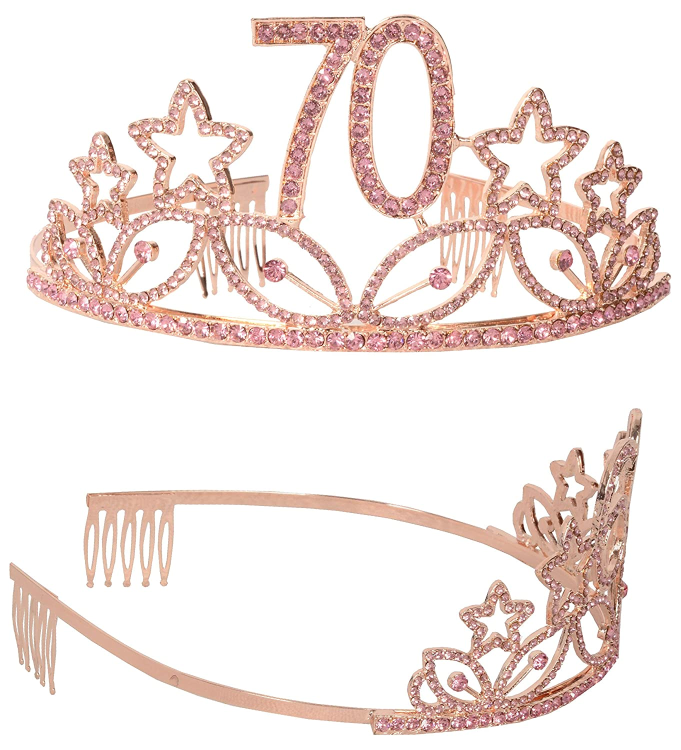 Pink 70th Black Glitter Satin Sash and Crystal Tiara Birthday Crown for 70th Birthday Party Supplies and Decorations MEANT2TOBE 70th Birthday Tiara and Sash,Happy 70th Birthday Party Supplies