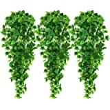 AGEOMET 3 peças de plantas artificiais para pendurar folhas de marfim falsas para decoração de cercas de jardim de parede par