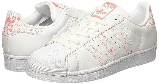 Adidas superstar donne formatori bianco rosa 9 uk