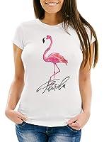 Cooles Damen T-Shirt Flamingo Seepferdchen Watercolor Slim Fit Neverless®