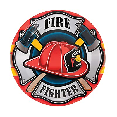 Fire Fighter Heroes Dinner Plate (8 disposable paper plates) Fireman Birthday Party Supplies: Toys & Games