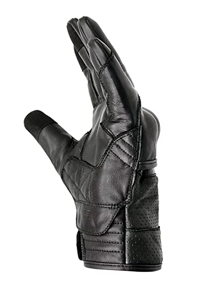 Gant moto en cuir véritable avec renforts au niveau des phalanges Hand fellow compatibles avec écran tactile.