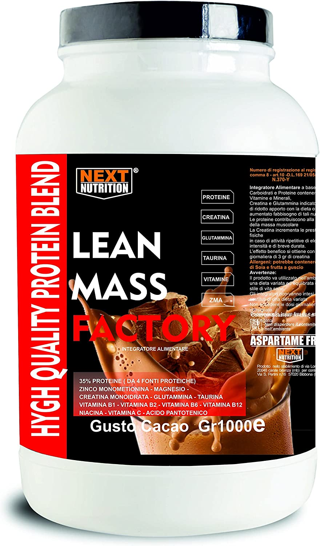 Proteína Aumento de la masa muscular | Gainer, lanzamiento lento | LEAN MASS FACTORY Gr 1000 sabor Cacao | con carbohidratos, creatina glutamina, ...