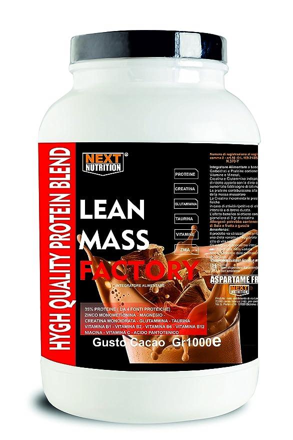 Proteína Aumento de la masa muscular | Gainer, lanzamiento lento | LEAN MASS FACTORY Gr 1000 sabor Cacao | con carbohidratos, creatina glutamina, taurina, ...