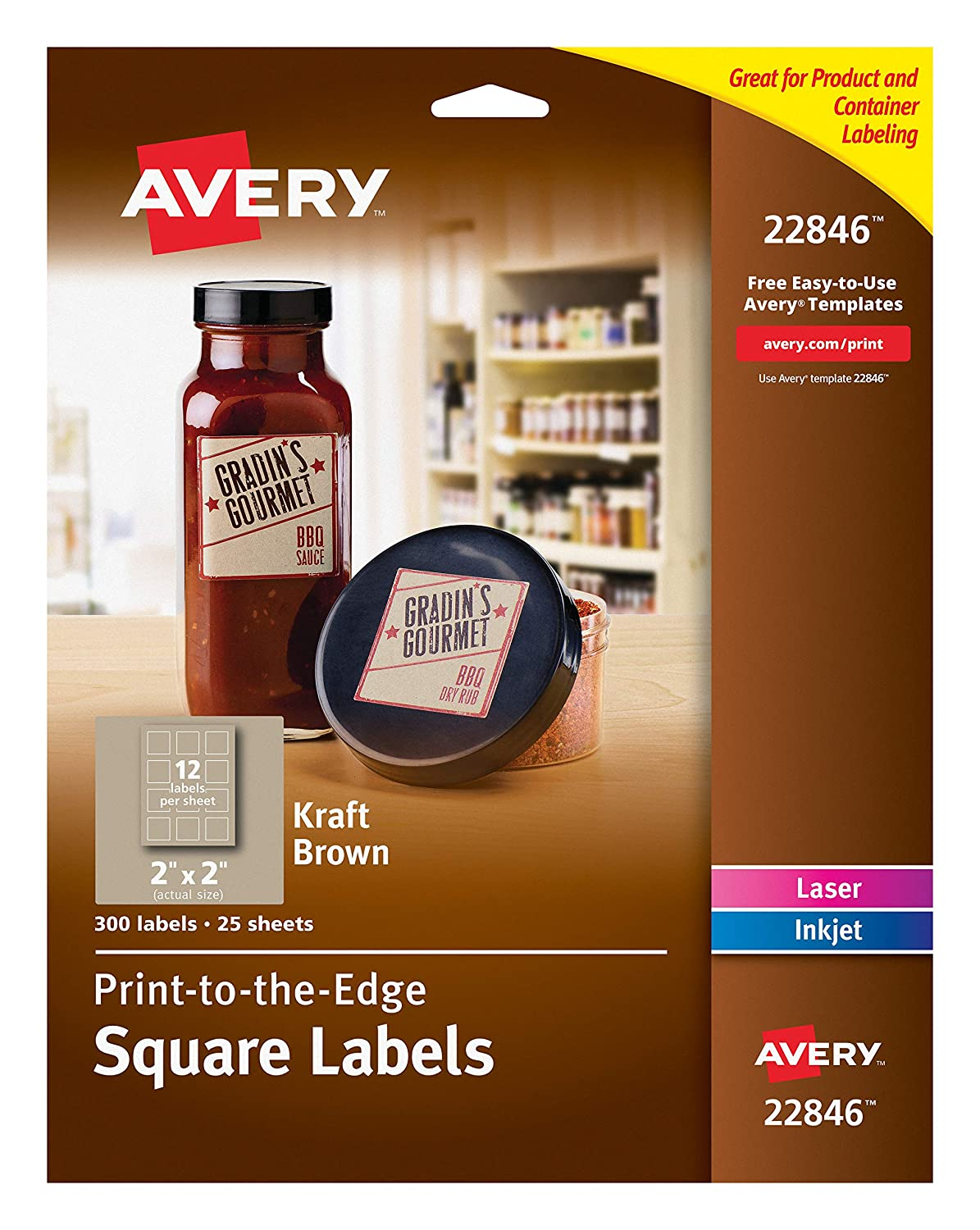 amazoncom avery print to the edge square labels kraft brown 2 x 2 inches pack of