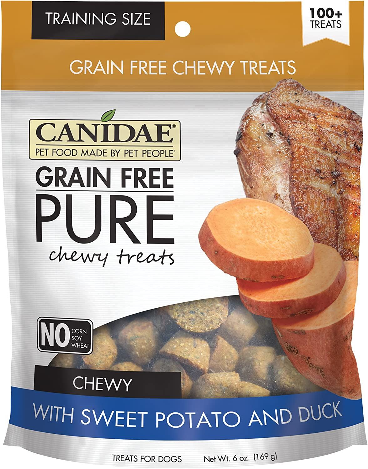 Canidae Grain Free Pure Chewy Dog Treats With Sweet Potato & Duck, 6 Oz.