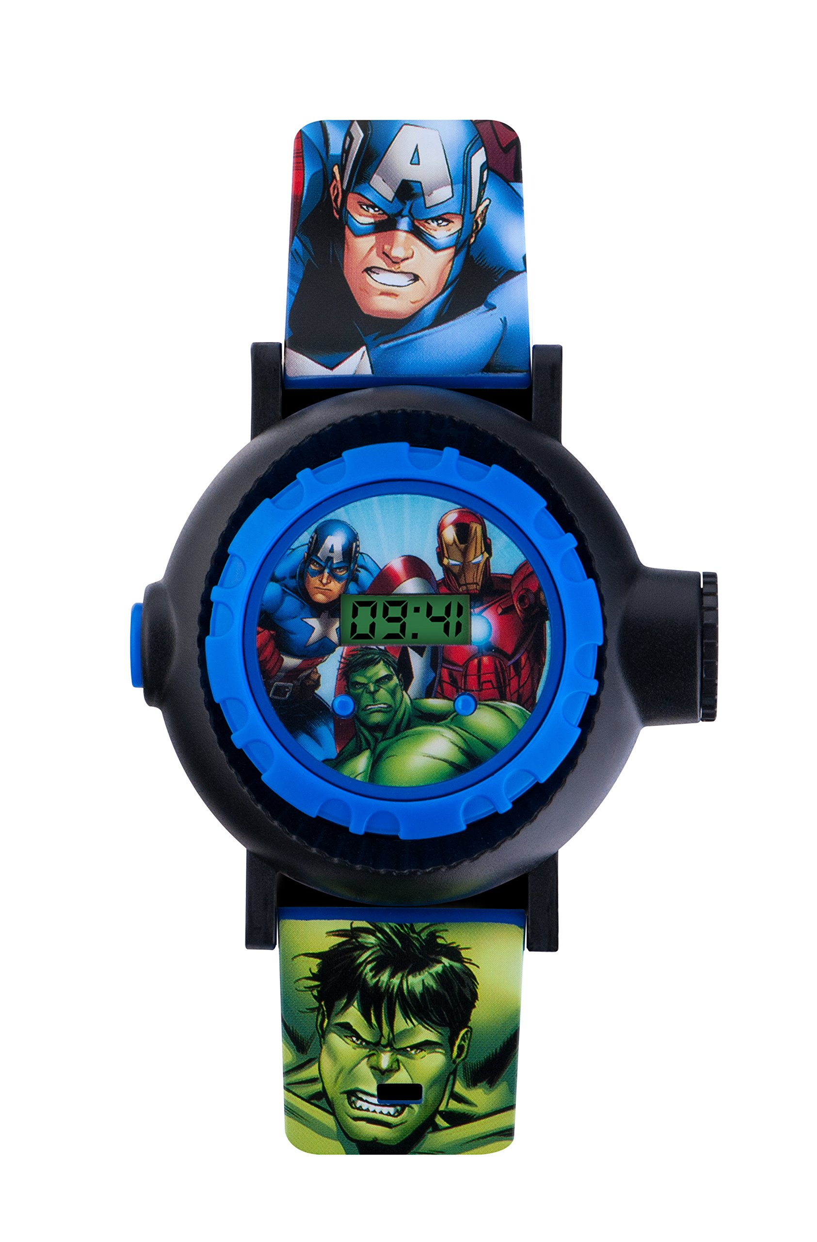 Avengers Children's Digital Watch with Multicolour Dial Digital Display and Blue PU Strap AVG3536
