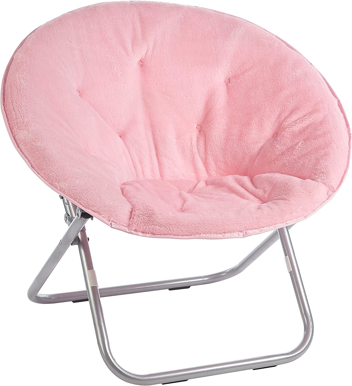 Urban Shop Faux Fur Saucer Chair with Metal Frame, Light Pink