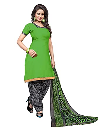055ac8c5f2 Indian Designer Un-Stitched Green Color Patiala Salwar Suit Dupatta  Material Plain Top And Printed Bottom: Amazon.co.uk: Clothing