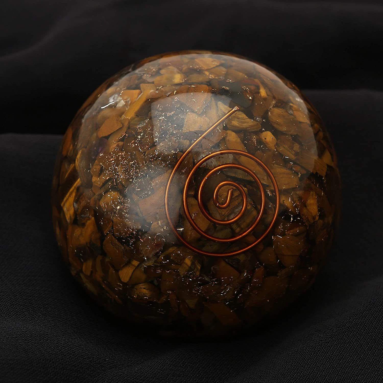 Amazon com: Natural Crystal Tiger Eye Orgone Sphere Ball EMF