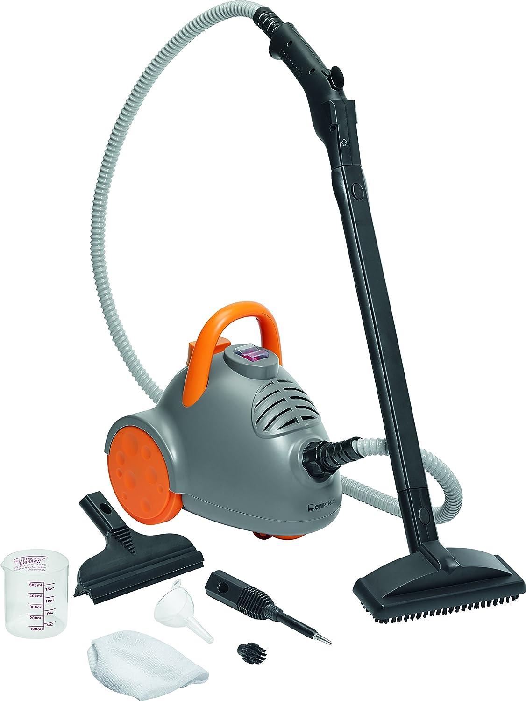 Clatronic DR 3536 - Vaportea limpiadora al vapor de 3,5 bar, 9 accesorios, 1350 W, color gris y naranja