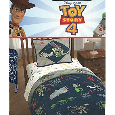 Pixar Disney Toy Story 4 Space Ranger Twin Quilt and Pillow Sham Set: Home & Kitchen