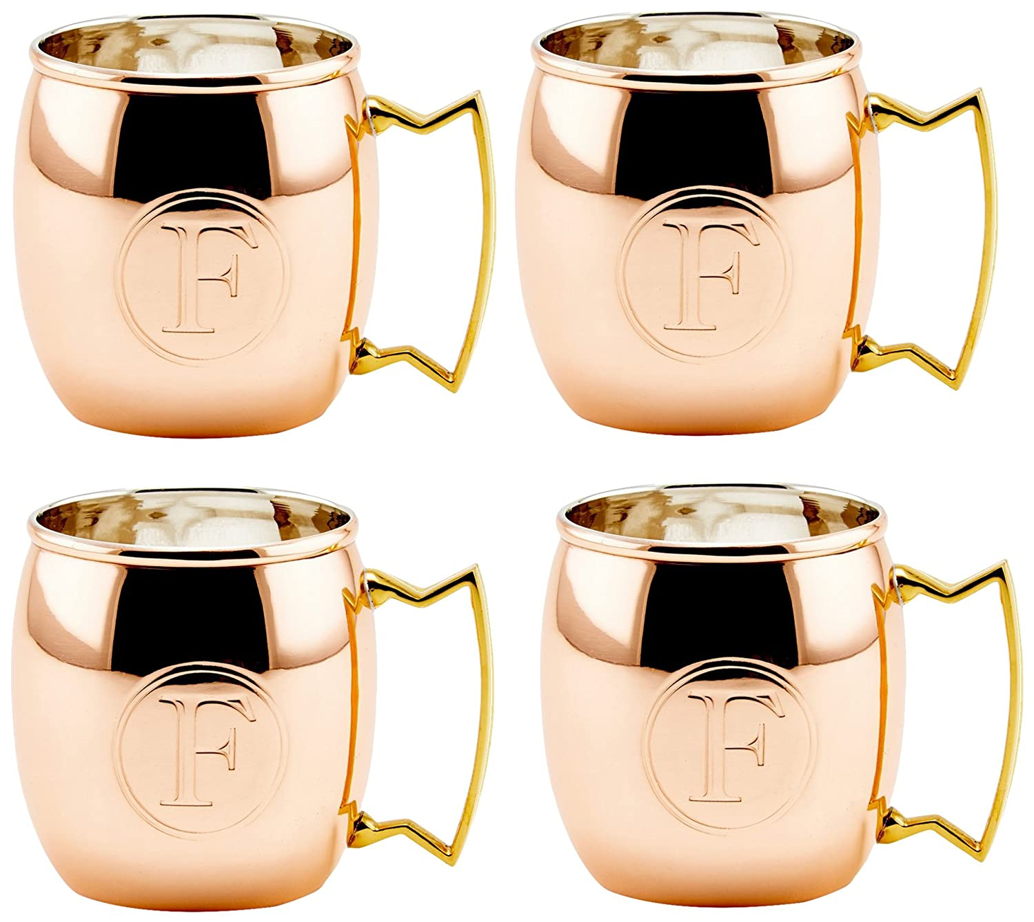 Old Dutch International Solid Moscow Mule Mug, 16-Ounce, Monogrammed A, Set of 4 OS428MA