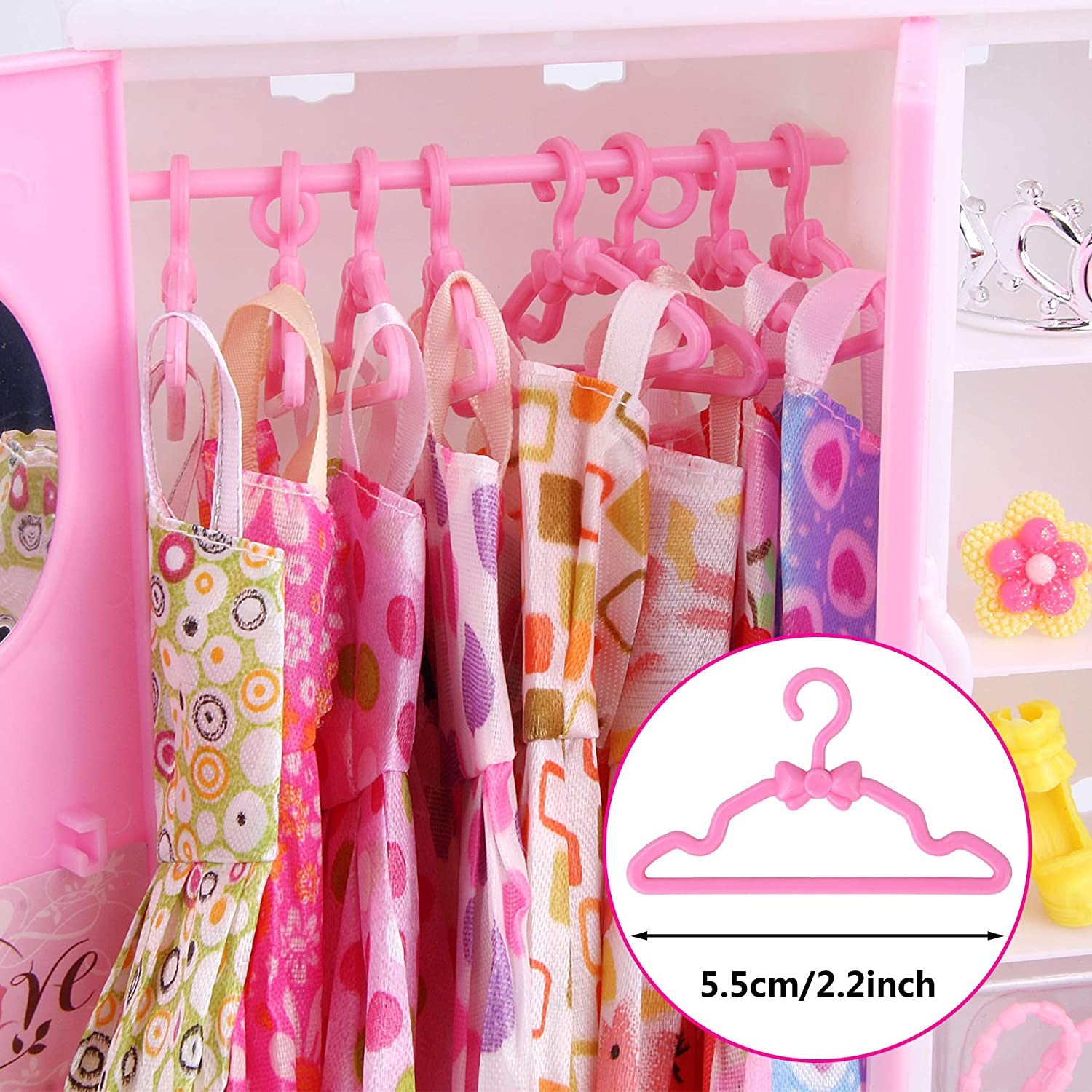 Mixed Packaging JANYUN 50 Packs 5 Styles Small Doll Cloth Hangers for Plastic Hanging Dress Closet Accessories for 11.5 inch Girl Dolls
