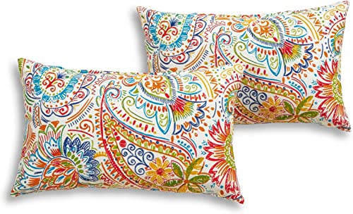 South Pine Porch AM5811S2-JAMBOREE Jamboree Paisley Outdoor 19 x 12-inch Rectangle Accent Pillow, Set of 2