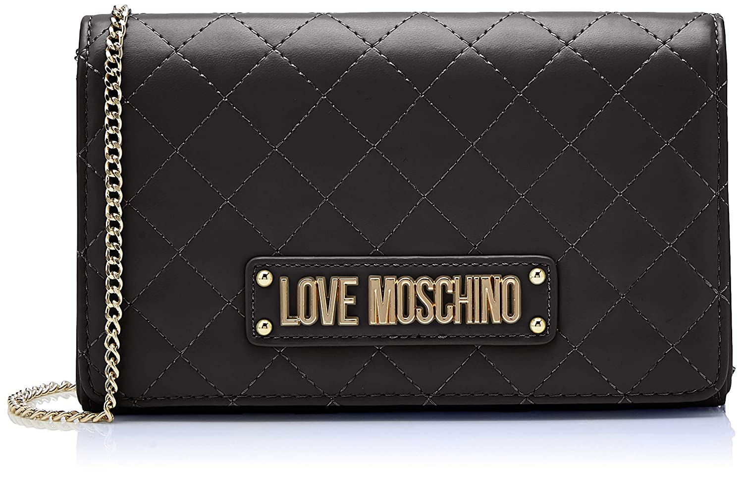 8f61bda6672 Amazon.com: Love Moschino Quilted Nappa Pu, Women's Clutch, Black (Nero),  15x10x15 cm (W x H L): Shoes