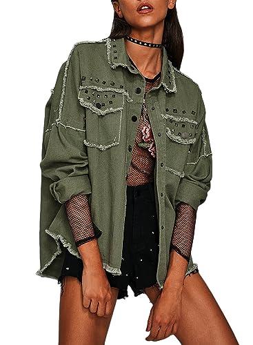 Azbro Mujer Cazadora de Mezclilla Botones Alto-bajo con Remache,ejército verde M
