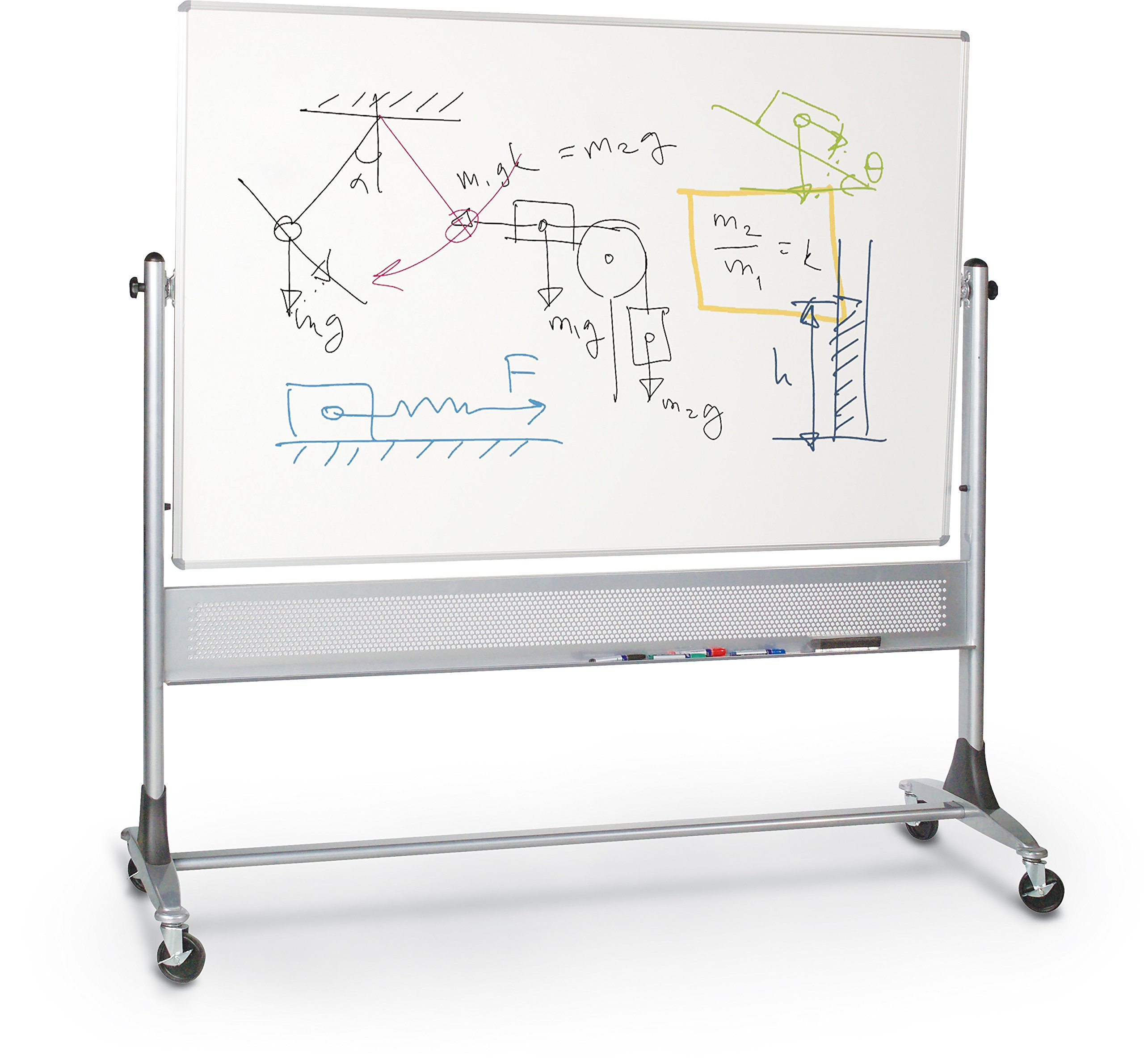 Best-Rite Platinum Mobile Reversible Whiteboard Easel, 4 x 8 Feet Panel Size, Double Sided Dura-Rite HPL Markerboard Surface (669RH-HH)