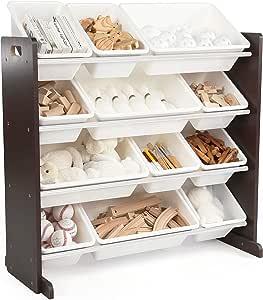 Humble Crew Modern Toy Organizer with 12 Bins, Espresso/White