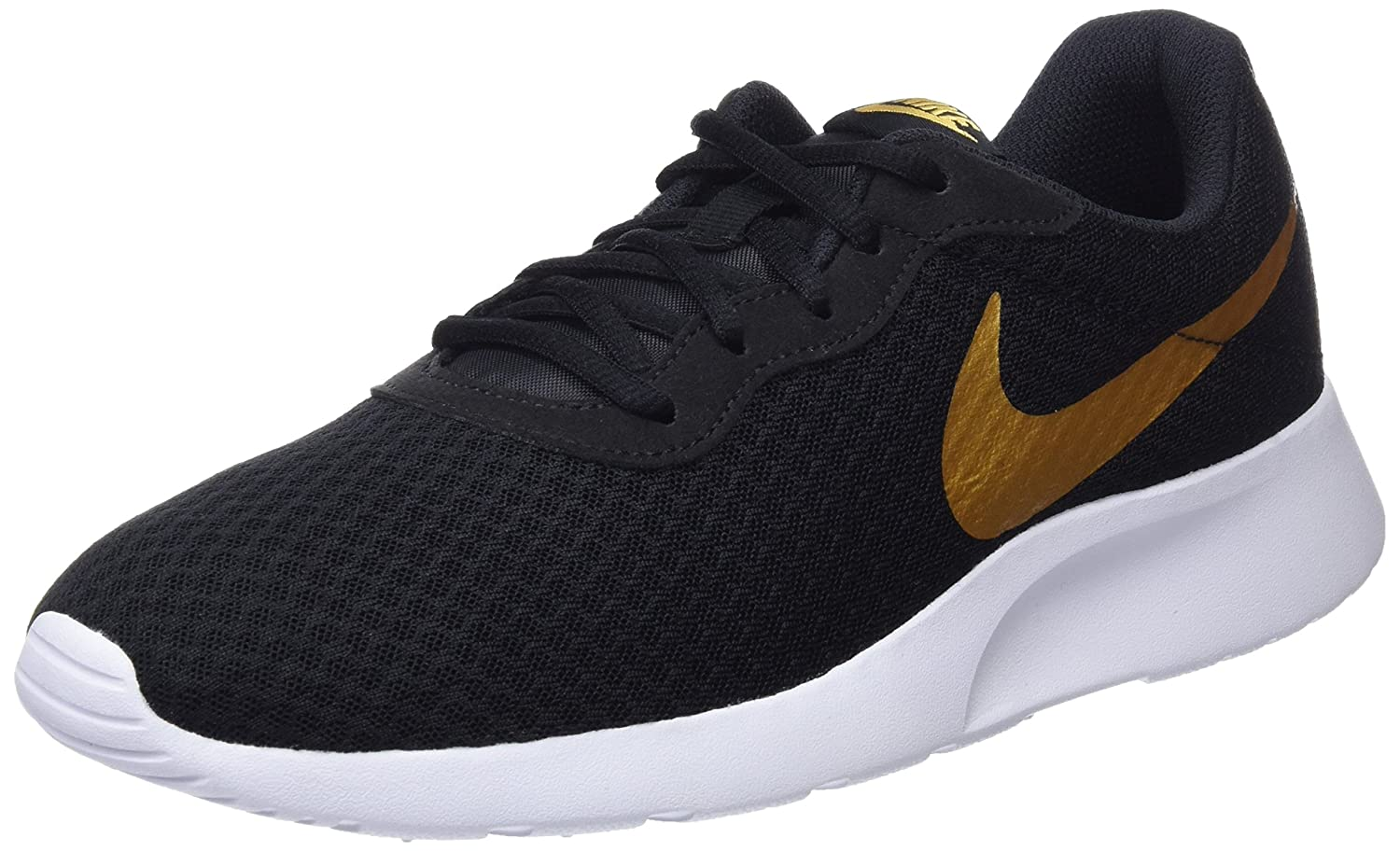 597ee570395f Nike Women s Tanjun 812655 Trainers - Black Metallic Gold Black ...