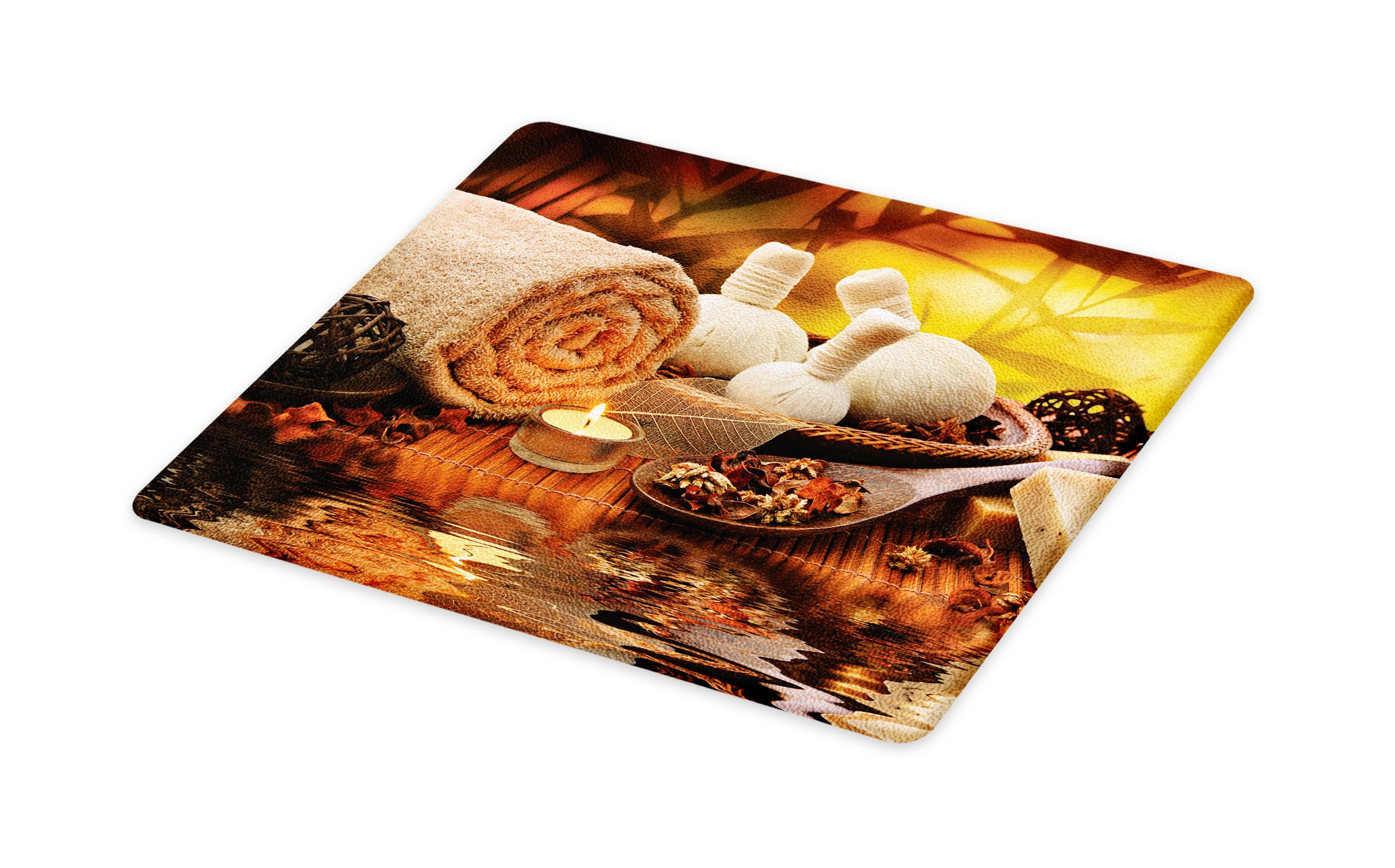 Lunarable Spa Cutting Board, Outdoor Spa Massage Setting at Sunset with Candlelight Reflections Culture Theme, Decorative Tempered Glass Cutting and Serving Board, Small Size, Orange Mustard