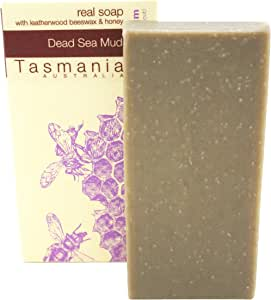 Beauty and the Bees 100% Natural Dead Sea Mud & Leatherwood Honey Soap Bar Deep Cleansing for Face Hands & Body | Zero waste & Eco-Friendly | Organic Essential Oils & Ingredients Handmade on Tasmania