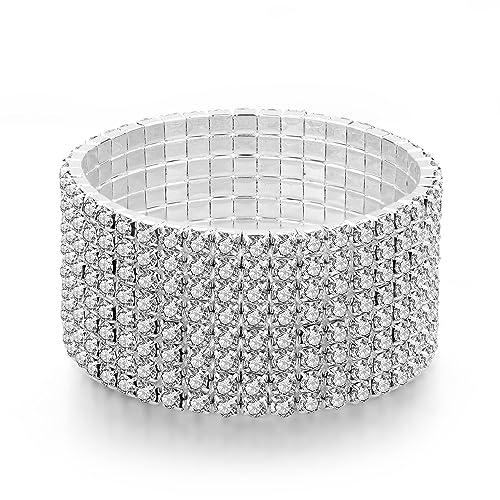 be04183ed9d Amazon.com: Long Way Women 8 Row Silver-Tone Clear Rhinestone Stretch  Bridal Crystal Elastic Bracelet for Wedding: Jewelry