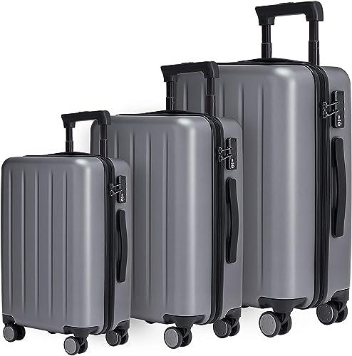 NINETYGO Luggage Sets 20 24 28 Inch , 100 Polycarbonate Hardside Luggage with Spinner Wheel, Lightweight Hardshell TSA Compliant Suitcase Gray