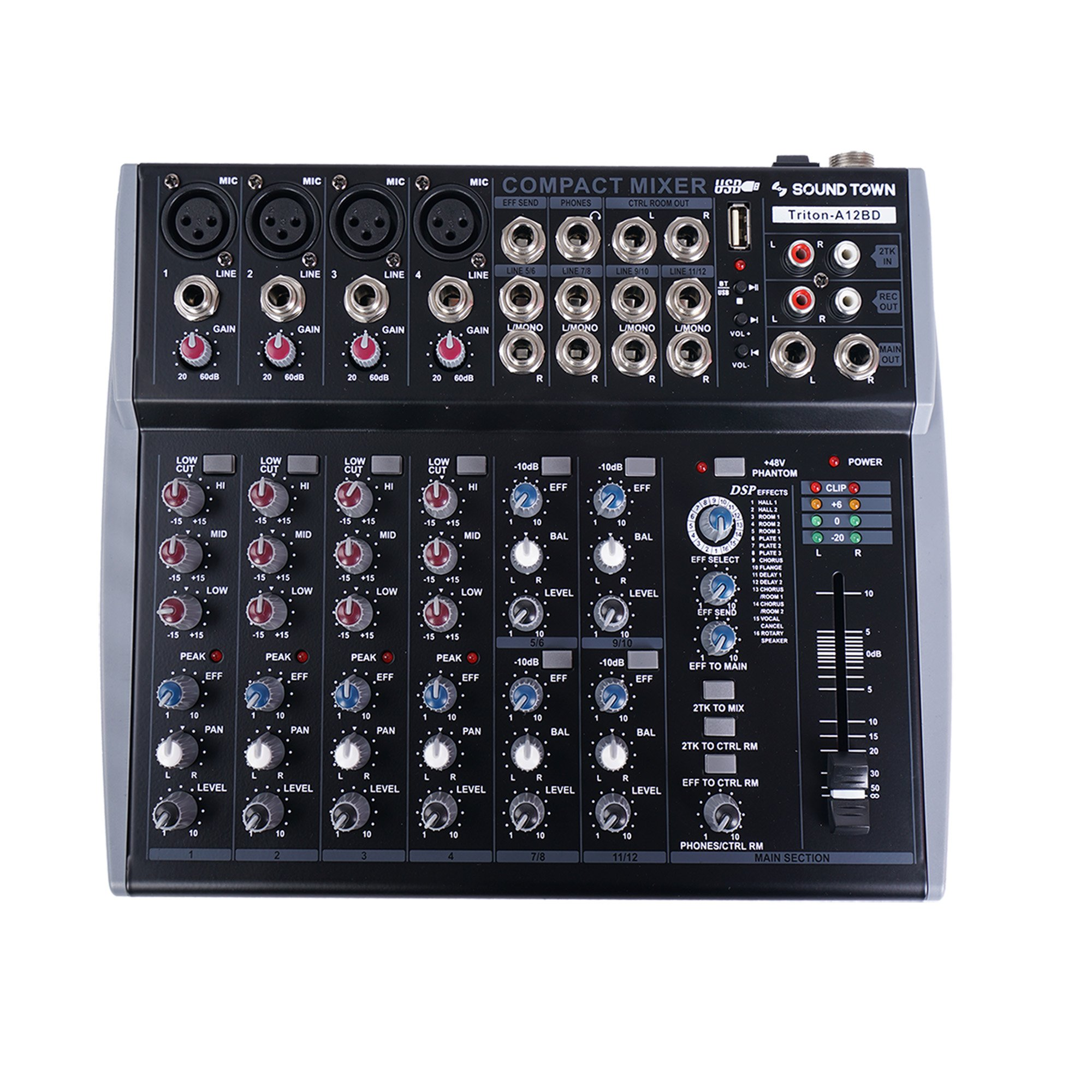 Sound Town Professional 12-Channel Audio Mixer with USB Interface, Bluetooth and DSP (TRITON-A12BD) by Sound Town