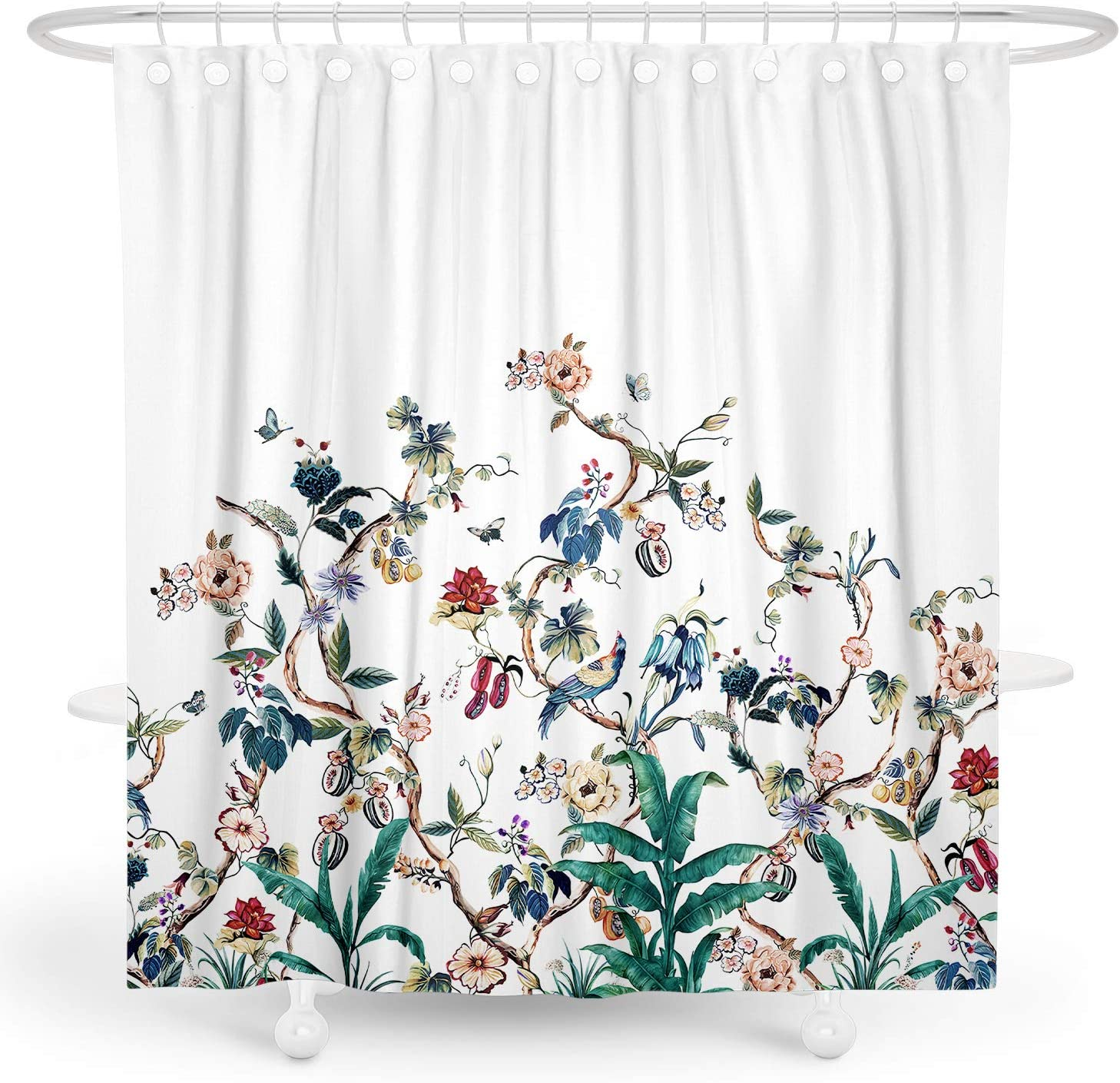 BARGHE Floral Shower Curtain Green Plant Shower Curtain Leaf Bird Shower Curtain Summer Botanical Tropical Shower Curtain Spring Flower Shower Curtain Polyester Waterproof Shower Curtain 72x72 Inch