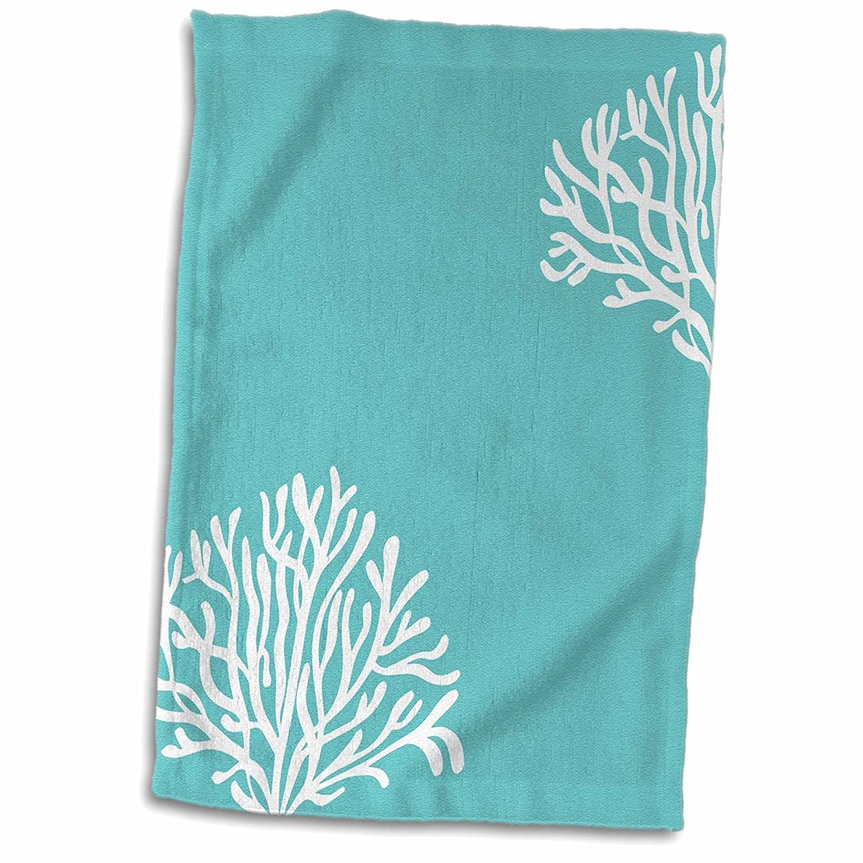 3D Rose Aqua and White Coral TWL/_192775/_1 Towel 15 x 22