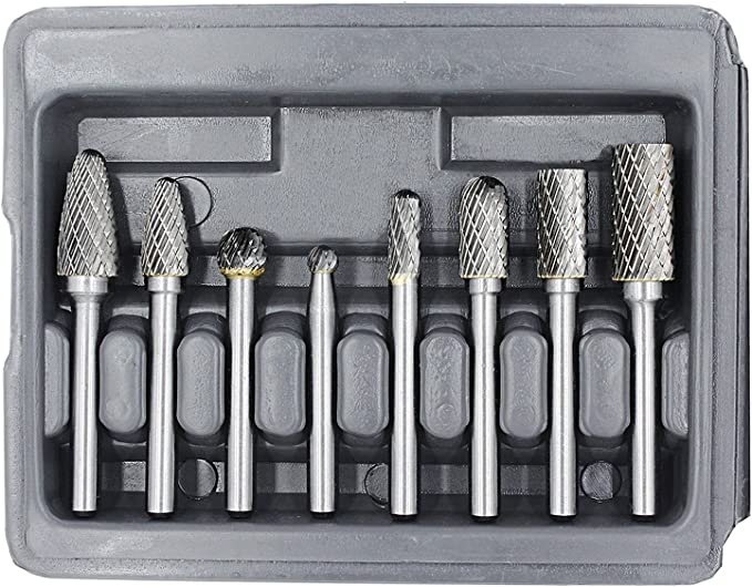"""Die Grinder Bits for Metal with /¼/"""" Shank 8pcs S/&F STEAD /& FAST Carbide Burr Set Grinder Burr Bits Double Cut Carving Porting Tools Tungsten Rotary Burr Set"""