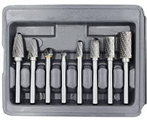 YUFUTOL Carbide Burr Set with 1/4''(6.35mm) Shank 8pcs Double Cut Solid Carbide Rotary Burr Set for Die Grinder Drill, Metal Wood Carving, Engraving,Polishing,Drilling