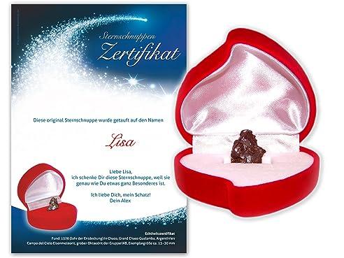 Echte Große Sternschnuppe In Roter Herzbox ✪ Inkl. Persönlichem  Widmungszertifikat Mit Deinem Wunschtext | Als