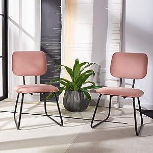 Safavieh Home Collection Chavelle Modern Velvet Side Chair (Set of 2) ACH6205B-SET2, Dusty Rose/Black