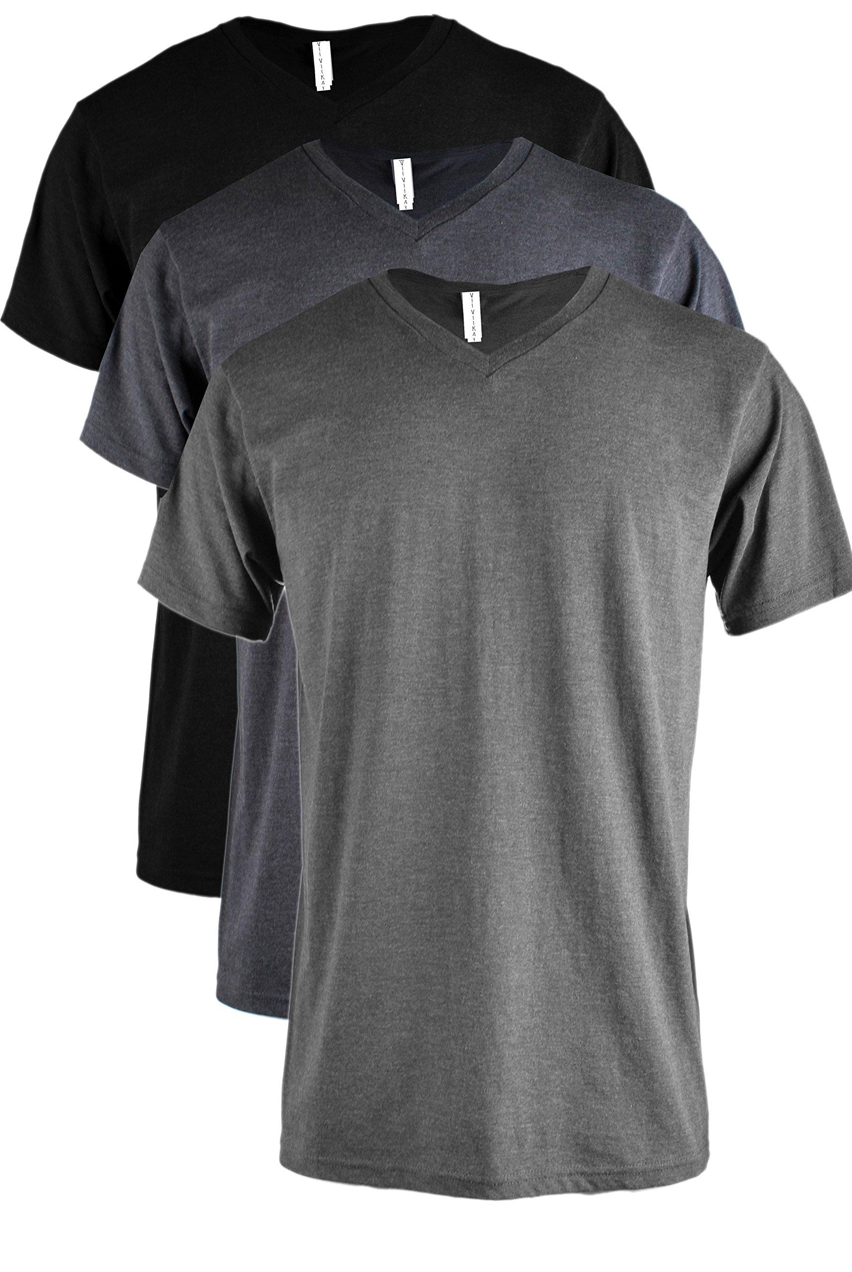 ViiViiKay Mens Short Sleeve Basic Slim Fit Tri-Blend Cotton V Neck T Shirts RVNKSET3_BK_Char_Navy L