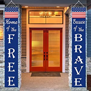 4th of July Patriotic Decorations Porch Sign Banners, Home of the Free Because of the Brave Hanging Flag Decor with Stars and Stripes for Independence Veterans Memorial Day Yard Party Indoor Outdoor