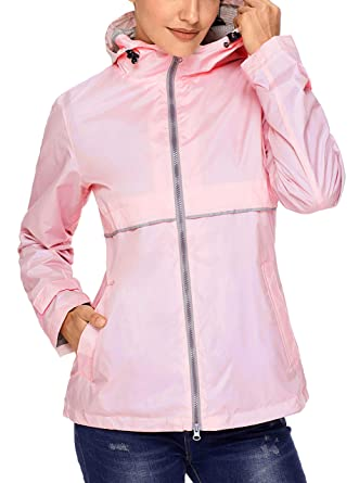 58820ec69f2 SWISSWELL Womens Lightweight Raincoat Hooded Waterproof Active Outdoor Rain  Jacket Light Coral Small