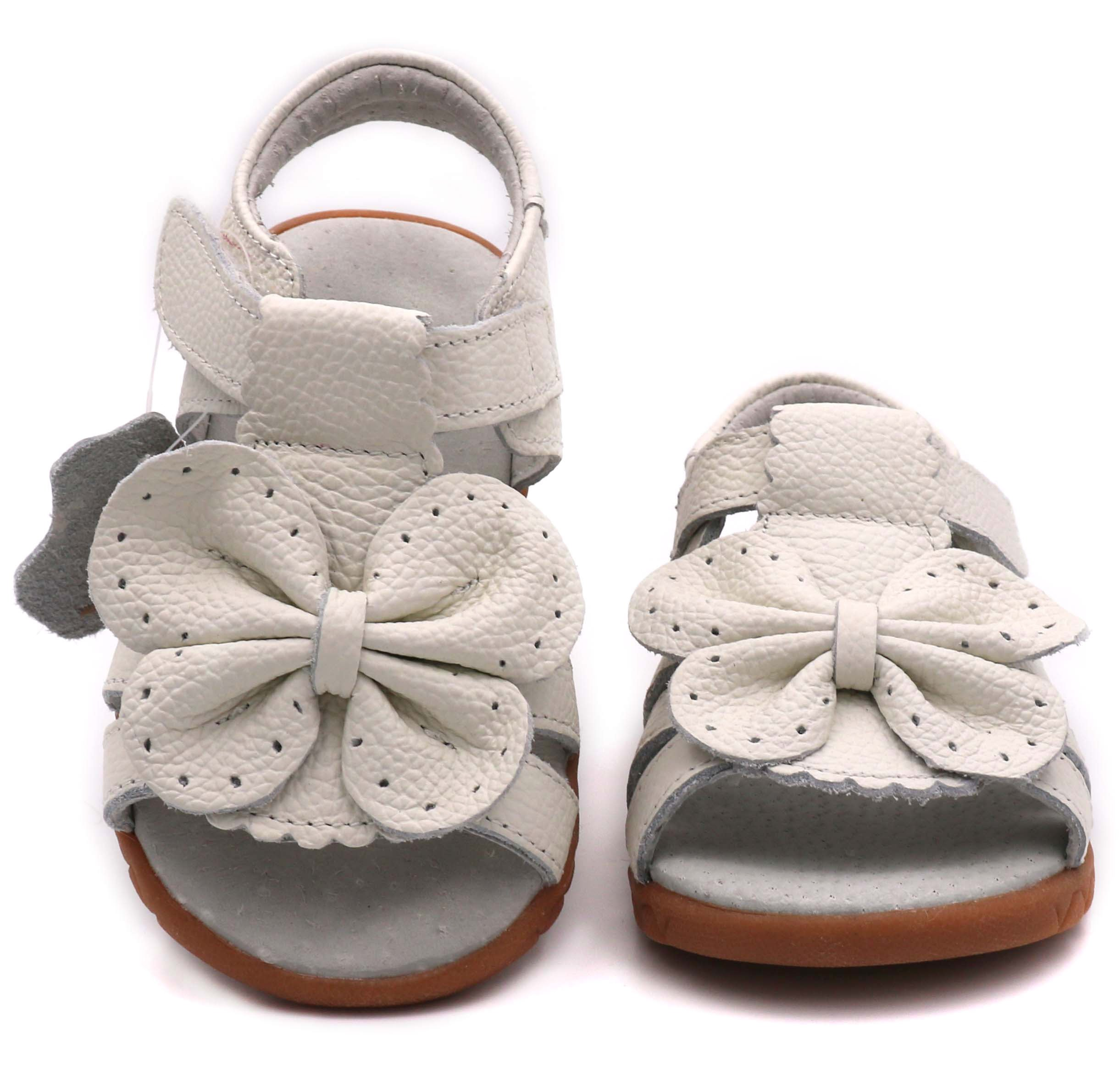 LONSOEN Girl's Butterfly Soft Leather Sandals Casual Outdoor Summer Shoes(Toddler/Little Kid),White Butterfly,KSD007 CN31