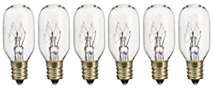 Pack of 6 15T7 15W Incandescent Salt Lamp & Appliance T7 Bulb with Candelabra Base, Clear Light Bulb
