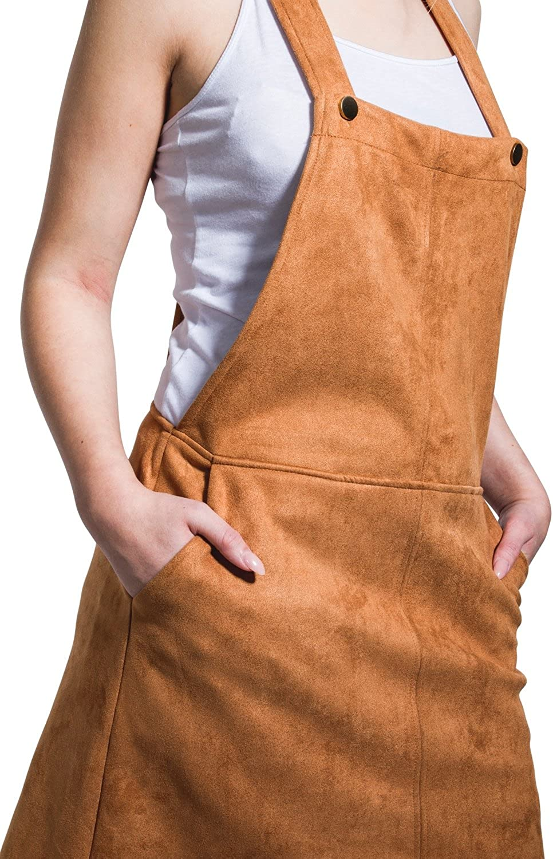 Brown Lightweight Bib overall skirt short skirt with Faux Suede Dungaree Dress