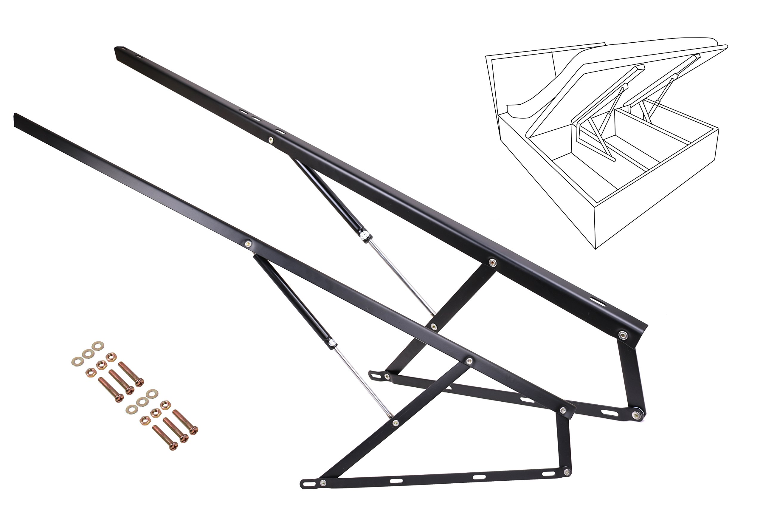 5FT Hydraulic Bed Lift Mechanisms for Sofa Bed Box Storage King Queen Twin Space Saving DIY Project Hardware,Black