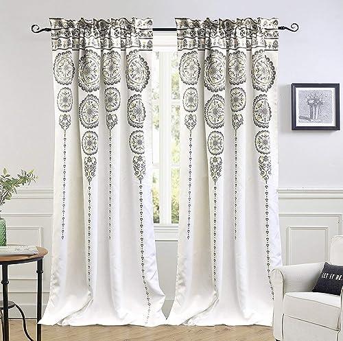 DriftAway Taylor Moroccan Cascading Medallion Floral Pattern Room Darkening Window Curtains Rod Pocket 2 Panels Each Size 50 Inch
